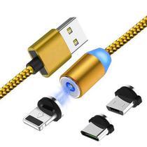 Cabo de Dados USB magnético 3 em 1 -1M -  Tipo C, V8 e Iphone - Dourado - Inova