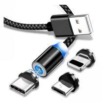 Cabo de Dados USB magnético 3 em 1 -1M -  Tipo C, V8 e Iphone - Preto - Inova
