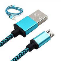 Cabo de Dados USB Nylon  para V8 Motorola LG Samsung Speed 1 Metro Inova Azul Cabo Reforçado -