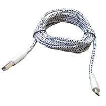 Cabo de Dados USB para V8 NYLON 3 Metros Branco Compativel - Ukimix