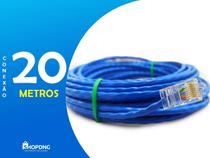 Cabo De Rede Internet Profissional Azul 20 Metros C/ Conector - Shopdng