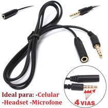 Cabo Extensor Extensão P3 P2 4 Vias Para Headset Celular Fone de Ouvido Universal Macho Femea Microfone Profissional - Leffa Shop