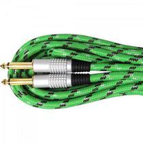 Cabo Guitarra P10 x P10 5m CBGU0004 Verde Têxtil STORM -