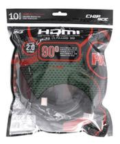 Cabo Hdmi 10 Metros Versão 2.0 4k 3d Plug 90 graus Chip SCE Polybag -