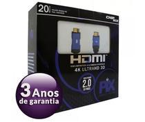 Cabo HDMI 2.0 4K Ultra HD 3D HDR 19 Pinos 20 Metros Com Filtro PIX Premium 018-2020 -