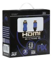 Cabo Hdmi 20 Metros 2.0 4k Ultra Hd 3d 19 Pinos 018-2020 - Pix