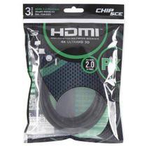 Cabo HDMI 3 Metros 2.0 4K ULTRA HD 3D 19 Pinos CHIP SCE 018-2223 -