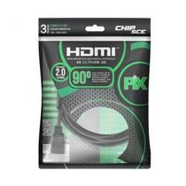 Cabo HDMI 4k Ultra HD 2.0 3D Plug 90 Graus - 3 Metros - Pix -