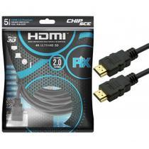 Cabo HDMI 5 Metros 2.0 4K ULTRA HD 3D 19 Pinos CHIP SCE 018-2225 -