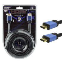 Cabo HDMI 5 Metros 2.0 4K Ultra HD 3D 19 Pinos Com Filtro 018-0520 Pix -