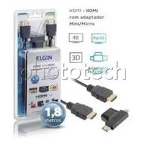 Cabo hdmi com adaptador micro e mini 1.8 metros hdmi 1.4 elgin -
