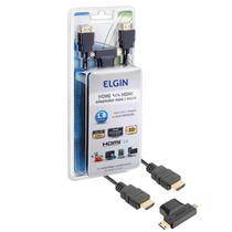 Cabo Hdmi Elgin 3 Em 1 Adaptador Hdmi Micro E Mini 1,8 Metros 4k Alta Definição -