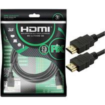 Cabo HDMI PIX 3m 2.0 4K 19 Pinos 018-2223 -