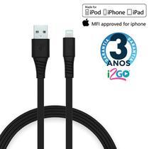 Cabo iPhone Lightning Certificado MFI 1,2 Metros Preto i2Go -