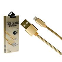 Cabo Iphone USB Metal 1 Metro Dourado - Só na Global Time - Shinka