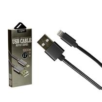 Cabo Iphone USB Metal 1 Metro Preto - Só na Global Time - Shinka