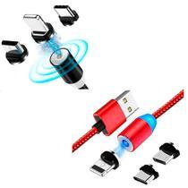Cabo Magnético 3 em 1 Iphone Tipo C Micro Usb Carregador Preto e Vermelho - Inova -