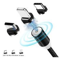 CABO MAGNETICO CARREGAMENTO CELULAR USB 3 em 1 2.1A  V8  TIPO-C LIGHT-IOS - Aaa