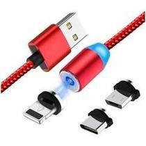 CABO MAGNETICO CARREGAMENTO CELULAR USB 3 em 1 2.1A  V8  TIPO-C LIGHT-IOS - Rts