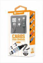 Cabo Magnético Imã USB Original Sumexr 1m 2.4A com 3 pontas Tipo C + V8 + Lightning iOS -