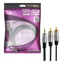 Cabo P2+RCA fitz - P2 estereo X 2 RCA macho plug metal - 5M - CHIP-SCE