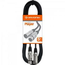Cabo para Microfone XLR(F) X XLR(M) 5M Player Preto Hayonik -
