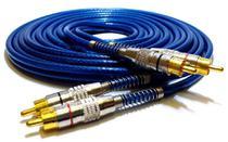 Cabo rca blindado 5 metros - p/ módulo amplificador - azul - Tech One