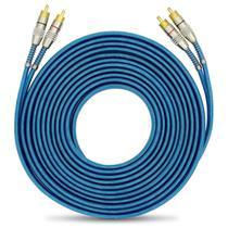 Cabo RCA Luxo 5 metros 5mm Dupla Blindagem Azul Plug Conectores Duplos Alta Pressão Banhado a Ouro - Tech One