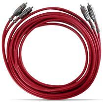 Cabo RCA Stetsom 5 Metros 4mm Duplo Vermelho Plug Prata -
