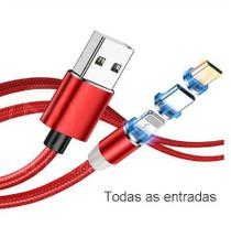 Cabo Universal Magnético Carregador 3 em 1 USB Lighting iOS Tipo C - SHEDE