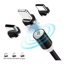 Cabo Usb Carregador Magnético Imã Rápido 3in1 Android Iphone -