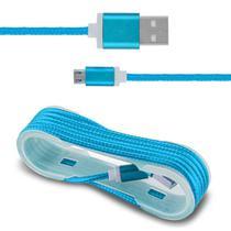 Cabo USB Carregamento Smartphone Entrada Micro B Nylon Azul - Prime