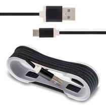 Cabo USB Carregamento Smartphone Entrada Micro B Nylon Preto - Prime