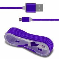 Cabo USB Carregamento Smartphone Entrada Micro B Nylon Roxo - Prime