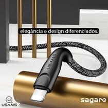 Cabo USB Lightning 2 Metros 2M com Reforço nas Pontas e Revestido em Nylon para iPad iPod iPhone iOs - Usams