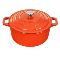 Caçarola De Ferro Fundido Esmaltado Redonda 28 cm - Stex Cookware - 6,5 litros - Laranja -