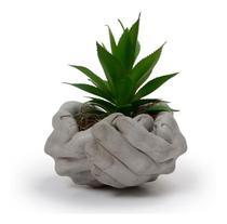 Cachepot Cachepô Cimento Vaso Jardineira Floreira Miniatura Modelo Mão - Sweet Home