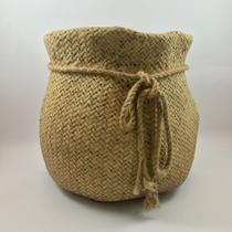Cachepot de Cimento Saco de Estopa c/ Sisal cor Bege - 22cm (Ref.: 112032) - Importado