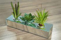 Cachepot Espelhado Para Suculentas Vaso Decorativo Triplo Centro de Mesa - Cr Vidros
