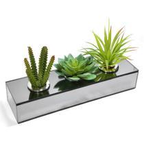 Cachepot Espelhado Para Suculentas Vaso Decorativo Triplo para Cactos Centro de Mesa - Cr Vidros