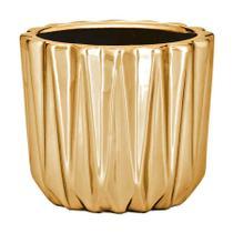Cachepot Mart Lapidado de Cerâmica Dourado -