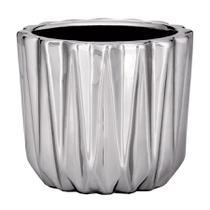 Cachepot Mart Lapidado de Cerâmica Prata -