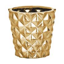 Cachepot Mart Losango de Cerâmica Dourado -