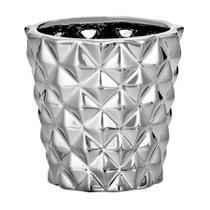 Cachepot Mart Losango de Cerâmica Prata -