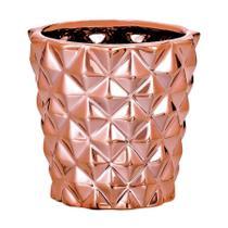 Cachepot Mart Losango de Cerâmica Rosê -