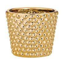 Cachepot Mart Poá de Cerâmica Dourado -