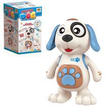Cachorro dancing dog com som e luz a pilha na caixa - Dm Toys
