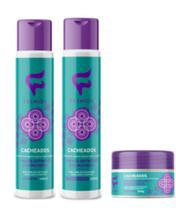 Cachos cacheados kit completo 3 produtos shampoo - condicionador - mascara fashion -