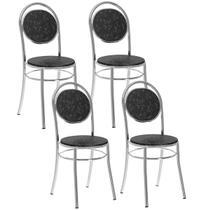Cadeira 190 Cromada 04 Unidades Fantasia Preto Carraro -
