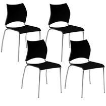 Cadeira 357 Cromada 04 Unidades Preta Carraro -